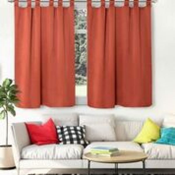 Cortinas blackout textil corta presillas descubiertas terracota